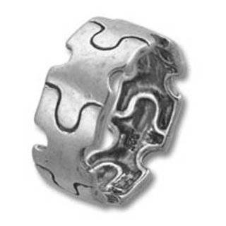 Autism Awareness Puzzle Piece Band Sterling Silver Ring Size 10