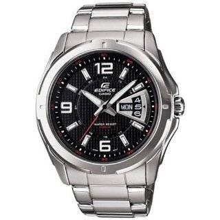 Casio Mens EF129D 1AV Silver Stainless Steel Quartz Watch with Black