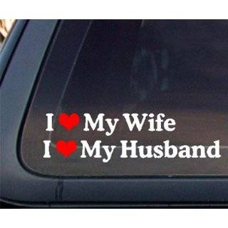 SET of 2 : I Love My Wife / Husband Car Decal / Sticker   White & Red