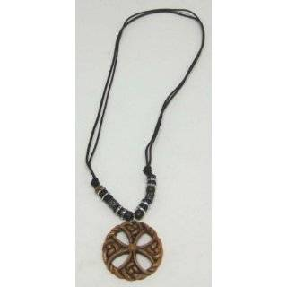 Wooden Celtic Cross Skull Pendant W/ Cord Necklace
