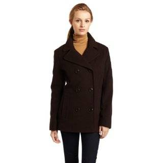Ak Anne Klein Womens Wool Double breasted Peacoat