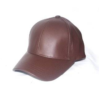 BLACK LEATHER BASEBALL CAP HAT CAPS HATS ADJUSTABLE MADE