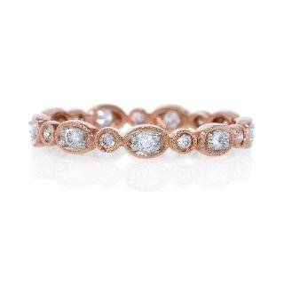 Diamond Antique Style 18k Rose Gold Eternity Wedding Band