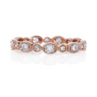 Diamond Antique Style 18k Rose Gold Eternity Wedding Band