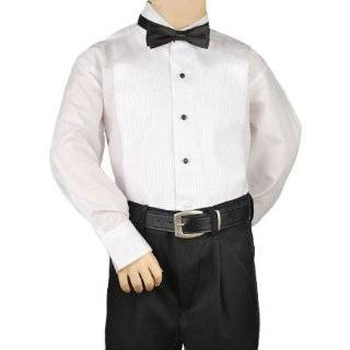 Tuxedo Shirt  Boys White Laydown Collar 1/4 Pleat Shirt Clothing