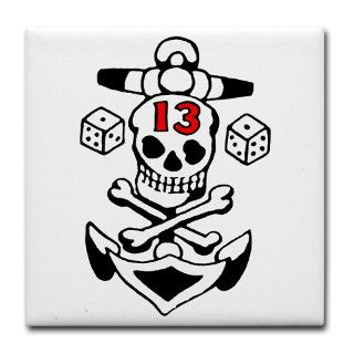 Gifts > Kitchen and Entertaining > Lucky 13 Skull Tile Coaster