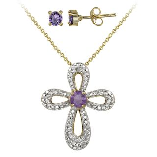 Glitzy Rocks Two tone Amethyst and Diamond Accent Cross Jewelry Set