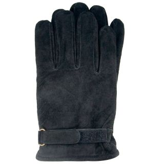 Isotoner Mens Black Medium Suede Gloves