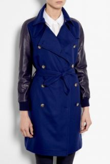 Sophie Hulme  Leather Sleeve Wool Trench Coat by Sophie Hulme