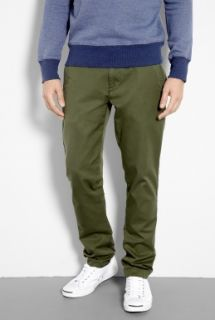Knowledge Cotton Apparel  Olive Washed Twill Tapered Leg Chinos by Knowledge Cotton Ap