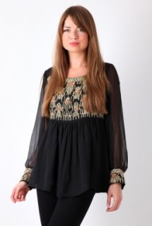 Julia Aline Embellished Top by Antik Batik   Black   Buy Tops Online
