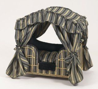 Lazy Paws Designer Canopy Pet Bed   Black & Gold Stripes