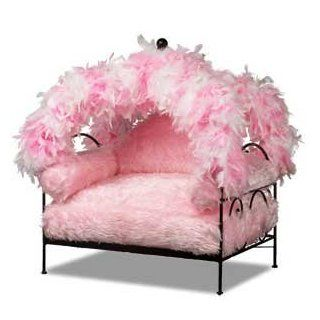 Pink Feather Canopy Pet Bed : Frame Color BLACK: Pet