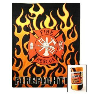 Fire fighter Fire Rescue Fleece Blanket: Home & Kitchen