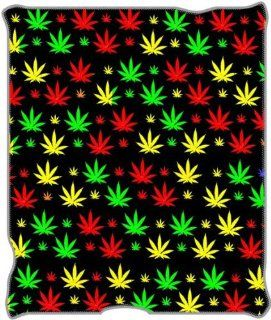Marijuana Pot Leaf Hemp Plant Fleece Blanket Throw