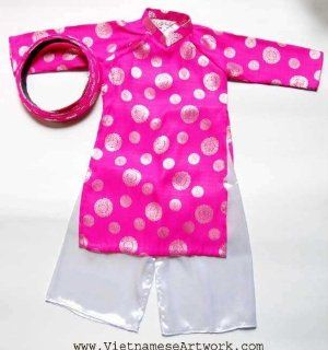 Ao Dai, Vietnamese Traditional Dress for Children   Pink