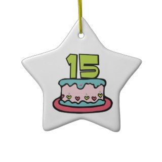 15 Year Old Birthday Cake Christmas Ornaments