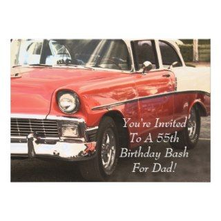 55th Birthday Surprise Party for Dad, 55 Chevy Custom Invitations