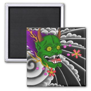 japanese mask tattoo design magnets