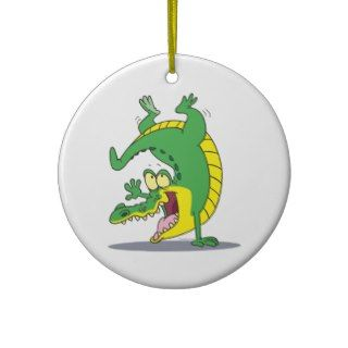happy alligator crocodile cartoon dancing christmas ornament