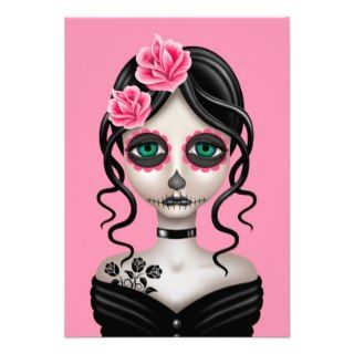 Sad Day of the Dead Girl on Pink Custom Invites
