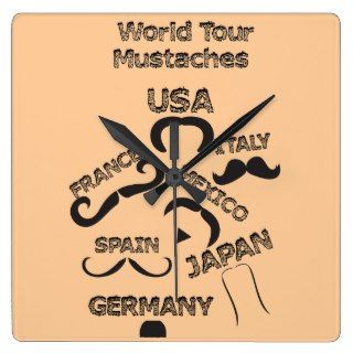 Funny Mustaches World Tour hipster mustache styles Clock