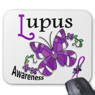 Stained Glass Butterfly 2 Lupus Mouse Pads