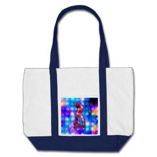 Diva Silhouette on Glamorous Background Tote Bags