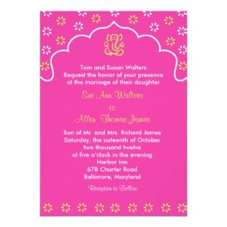Pink and Gold RSVP Ganesh Indian Hindu Invitations