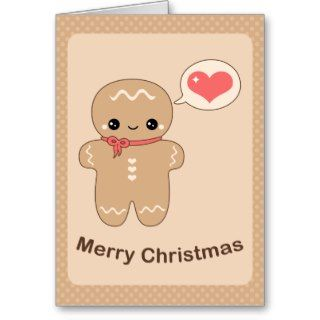 Cute Gingerbread Man Greeting Cards