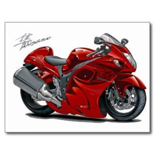 Hayabusa Red Bike Post Cards
