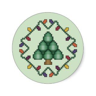 Christmas Tree Quilt Square Cross Stitch Pattern Stickers
