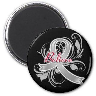 Brain Cancer Believe Flourish Ribbon Magnets