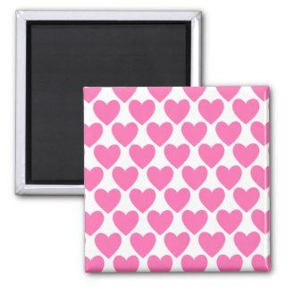 Simple Pretty Pink Polka Heart Wallpaper Pattern Fridge Magnets