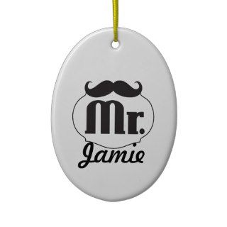 Mr. Mustache Retro Vintage Hipster Gifts Christmas Ornament
