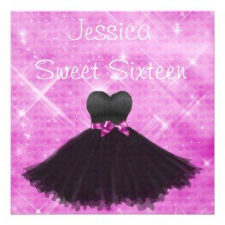 Sweet 16 Black Dress Pink Silver Glitter Birthday Announcements