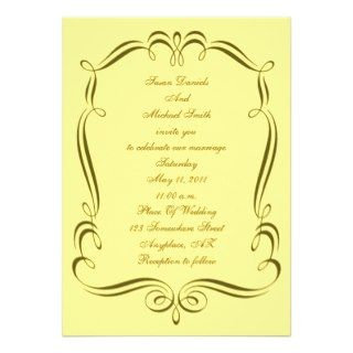 Gold Yellow Swirl Frame Wedding Invite