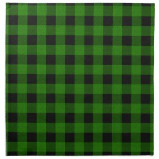 Buffalo Check Plaid Pattern   Green Black Napkin