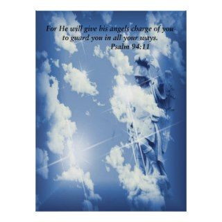 Guardian Angel with scripture on canvas Poster