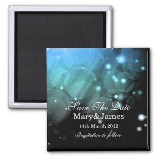 Save The Date Wedding Romantic Stars&Lights Blue Refrigerator Magnets