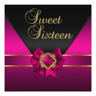 Sweet Sixteen Birthday Party Dark Pink Silk Gold Custom Invitations