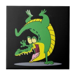 happy alligator crocodile cartoon dancing tiles