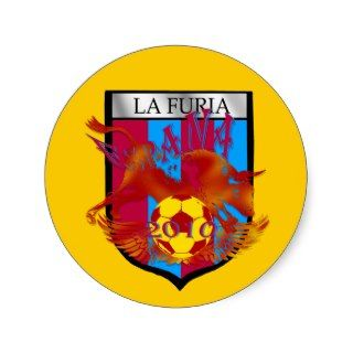 La furia futbol fans soccer shield gifts round stickers