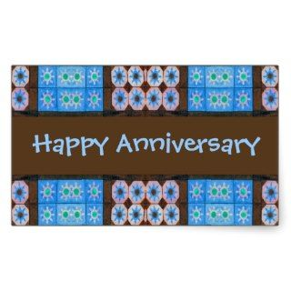 Turquoise Brown Happy Anniversary Rectangular Stickers
