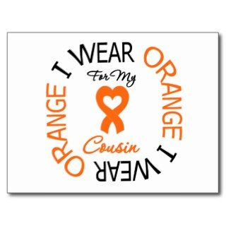 Leukemia I Wear Orange Ribbon Cousin Post Cards