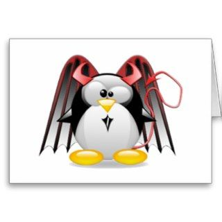Winged Devil Tux Greeting Cards
