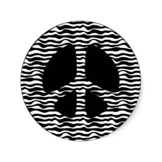 ZEBRA PRINT PEACE SIGN ROUND STICKERS