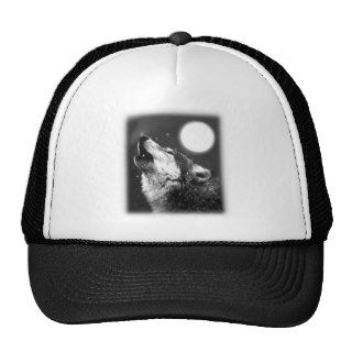Wolf Howling at Moon Mesh Hats