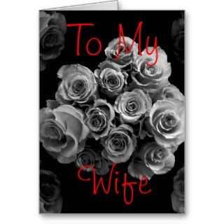 To My Wife Silver White Roses Happy Anniversary Cards