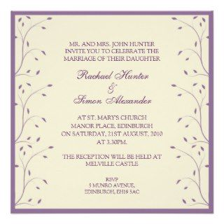Creme & Purple Floral Wedding Invitiation Invitations
